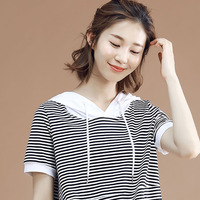Woman 2019 Xia Xinkuan Joker Leisure Time Thin Stripe Split Joint Jacket Cotton Easy Even Hat Rendering Unlined Upper Garment
