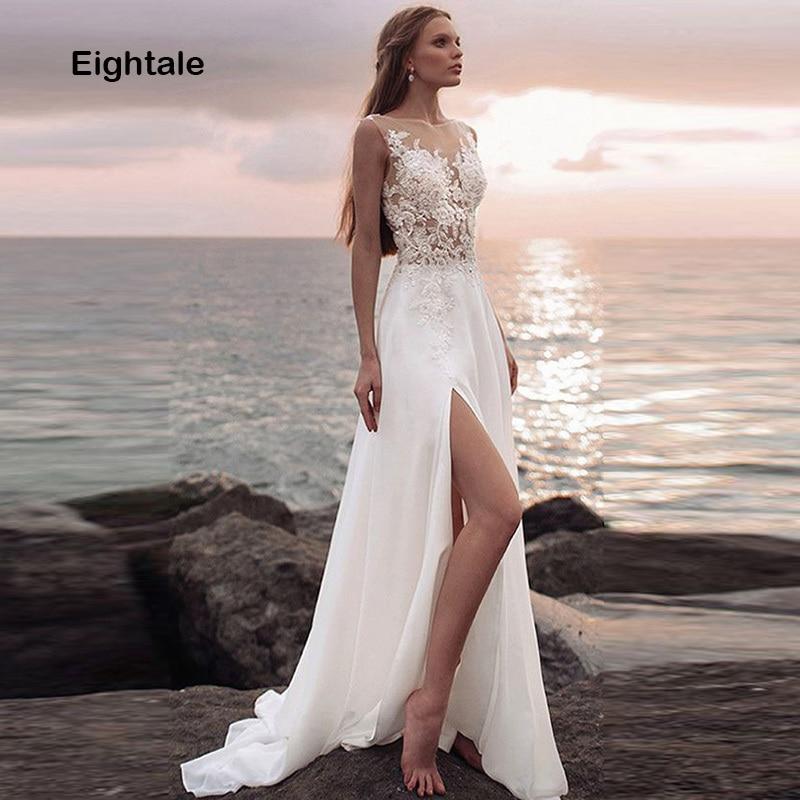 Eightale Beach Wedding Dress High Split Chiffon Skirt Appliques Lace Top Long Romatic Boho Wedding Gown Custom Made Bridal Dress