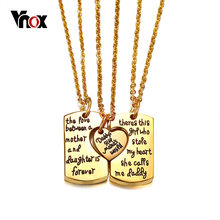 "Vnox Father Mother and Baby Heart Love Pendants Necklaces Gold Tone Stainless Steel Family Love Necklace Free 20"" Chain(China)"