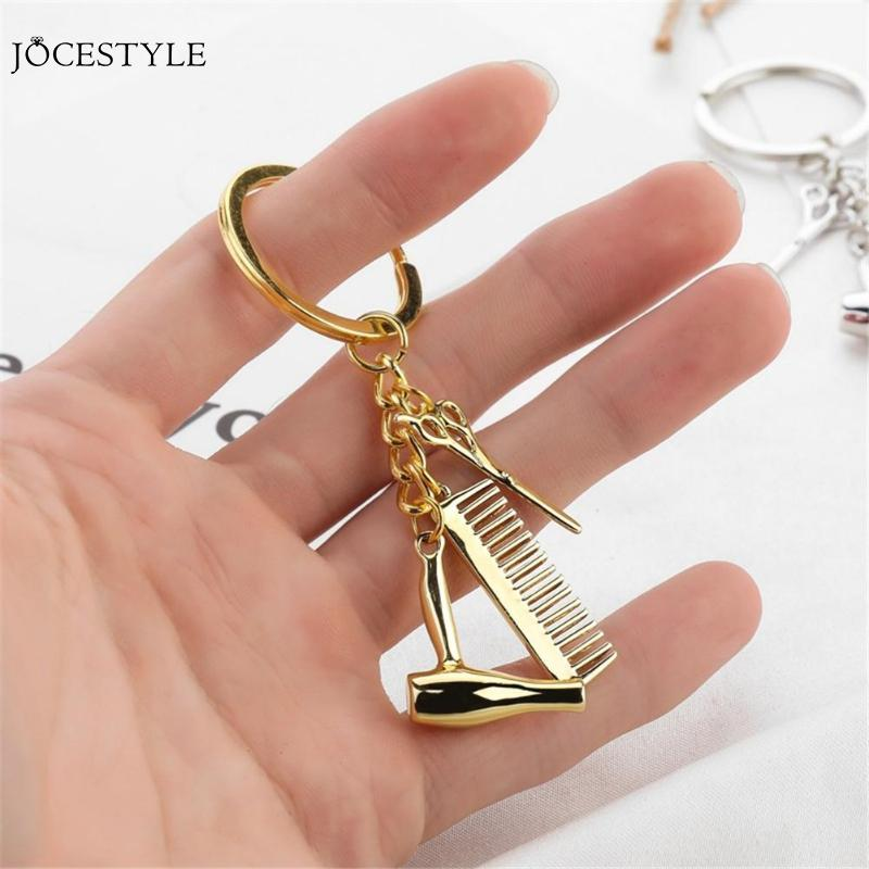 Creative Hair Dryer Comb Scissors Pendant Keychain Car Key Ring Jewelry Dropshipping