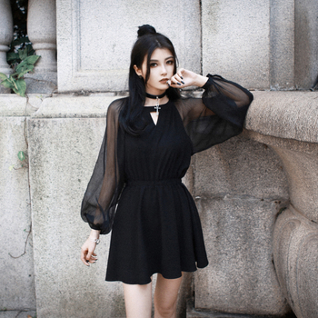 Women Black Mesh Lantern Dress Gothic Plus Size See Though Sexy Mini Dresses Goth Loose Casual Mini Dress Top