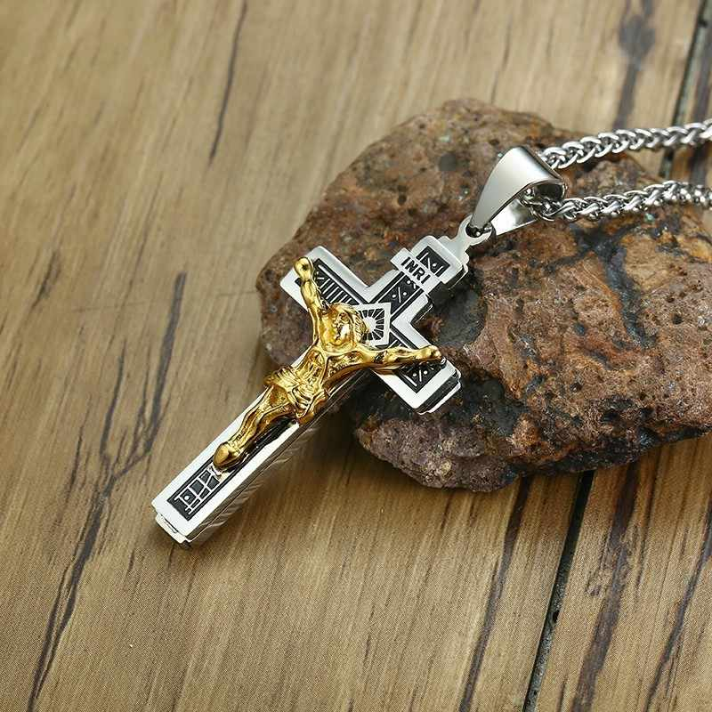 Two Tone Jesus Christ on INRI Crucifix Stainless Steel Cross Pendant Necklace for Men Catholic Jewelry with 24 inch
