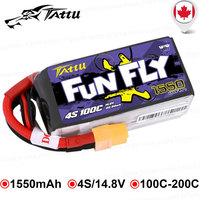 Tattu FunFly 100C 1550mAh 14.8V Lipo 4S Battery XT60 Connector for FPV Frame Practice 250 230 210 180 Size Racing Drone