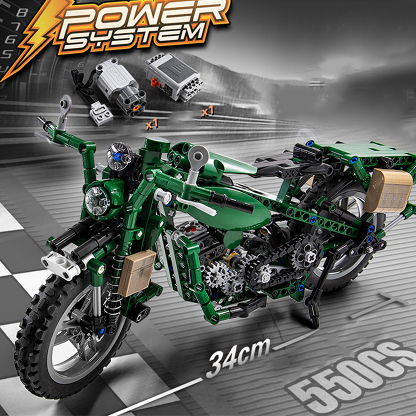 550pcs War II Motorbike Building Blocks Set Motor Battery Box Bricks Apply to All Major Brands