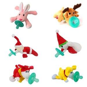 Noworodka silikonowe śmieszne dziecko klips smoczka łańcuch zwierząt śliczne piękny pluszowa zabawka smoczek smoczek pies małpa Snowman królik