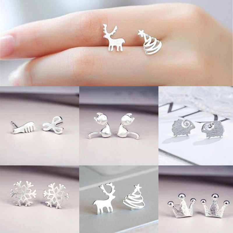 Fashion Silver Stud Earrings for Women Girl's Jewelry Accessories Christmas Gift Crown Stars Wedding Tiny Snowflake Reindeer