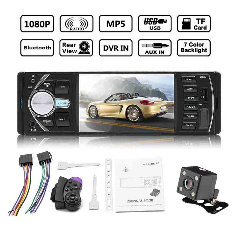 4.1 Double 1 Din Car MP5 MP3 Player Car Radio Audio USB AUX FM Radio Station Bluetooth Rearview Camera Remote Control image