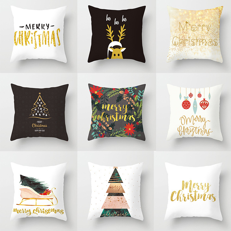 Merry Christmas Pillow Case Cotton Cover Square Home Bedroom Of 45x45cm