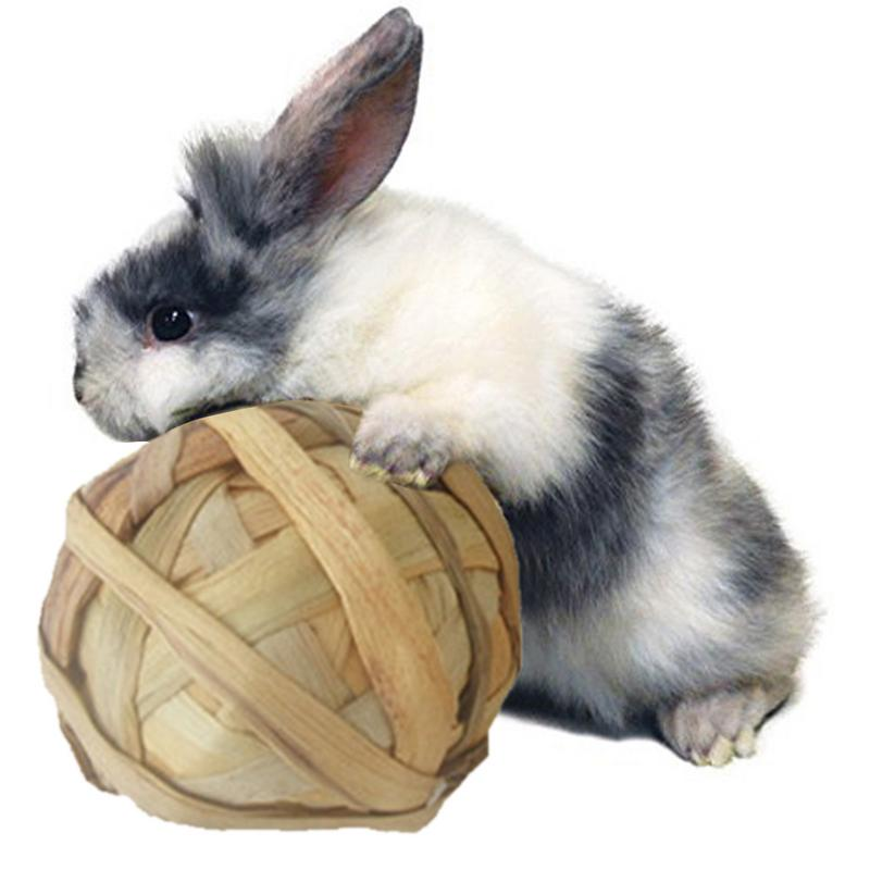 Small font b Pet b font Chewing Toy Natural Aquatic Plant Grass Braided Ball Bunny Hamster