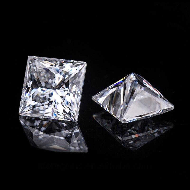 Carat Jewelry Moissanite Diamond Princess-Cut White