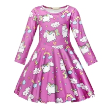 AmzBarley Girls Unicorn Dresses Long Sleeve A line Dress Toddler girls Birthday Party outfits kids Fancy Autumn clothes
