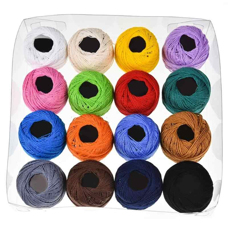 16pcs DIY Craft Embroidery Thread Knitting Dyeing Line Sewing Accessories Cotton Multicolored Random Sewing Thread
