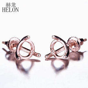 Image 1 - HELON Solid 14K Solid Rose Gold 6 7mm Round Cut Semi Mount Earrings Setting Lady Engagement Wedding Stud Earrings Prong Jewelry