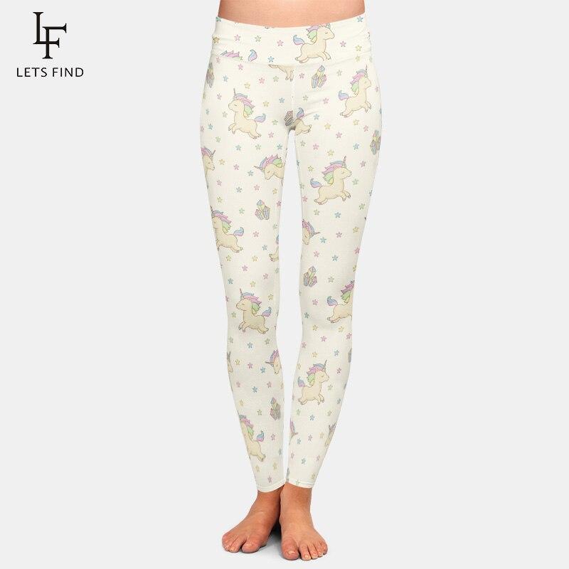 New Fashion Women Milk Silk High Waist Leggings 3D Print Unicorn High Elastic  Casual  Comfortable Women Leggings