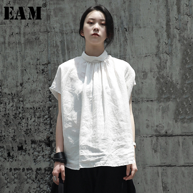 [EAM] 2020 New Spring Summer Stand Collar Short Sleeve White Fold Linen Big Size Loose T-shirt Women Fashion Tide JQ934