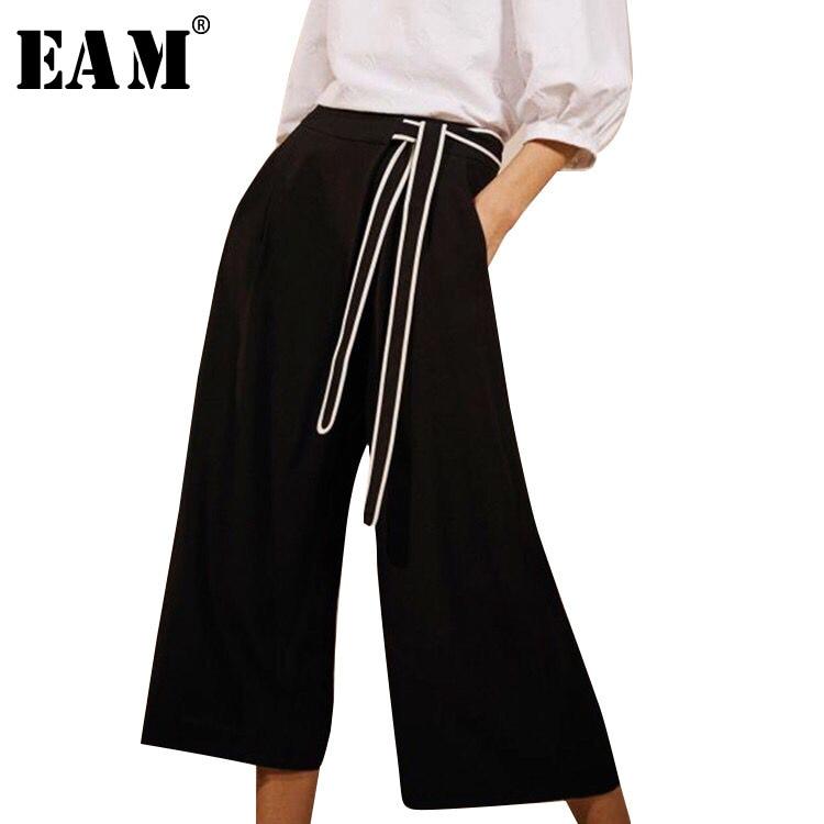 [EAM] 2019 New Spring Summer High Waist Bandage Bow Loose Line Split Joint   Wide     Leg     Pants   Women Trousers Fashion Tide JL869