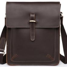 Винтажная сумка на плечо из натуральной кожи Crazy Horse, мужская сумка через плечо, мужская сумка через плечо, кожаная сумка для отдыха, коричневая модная сумка