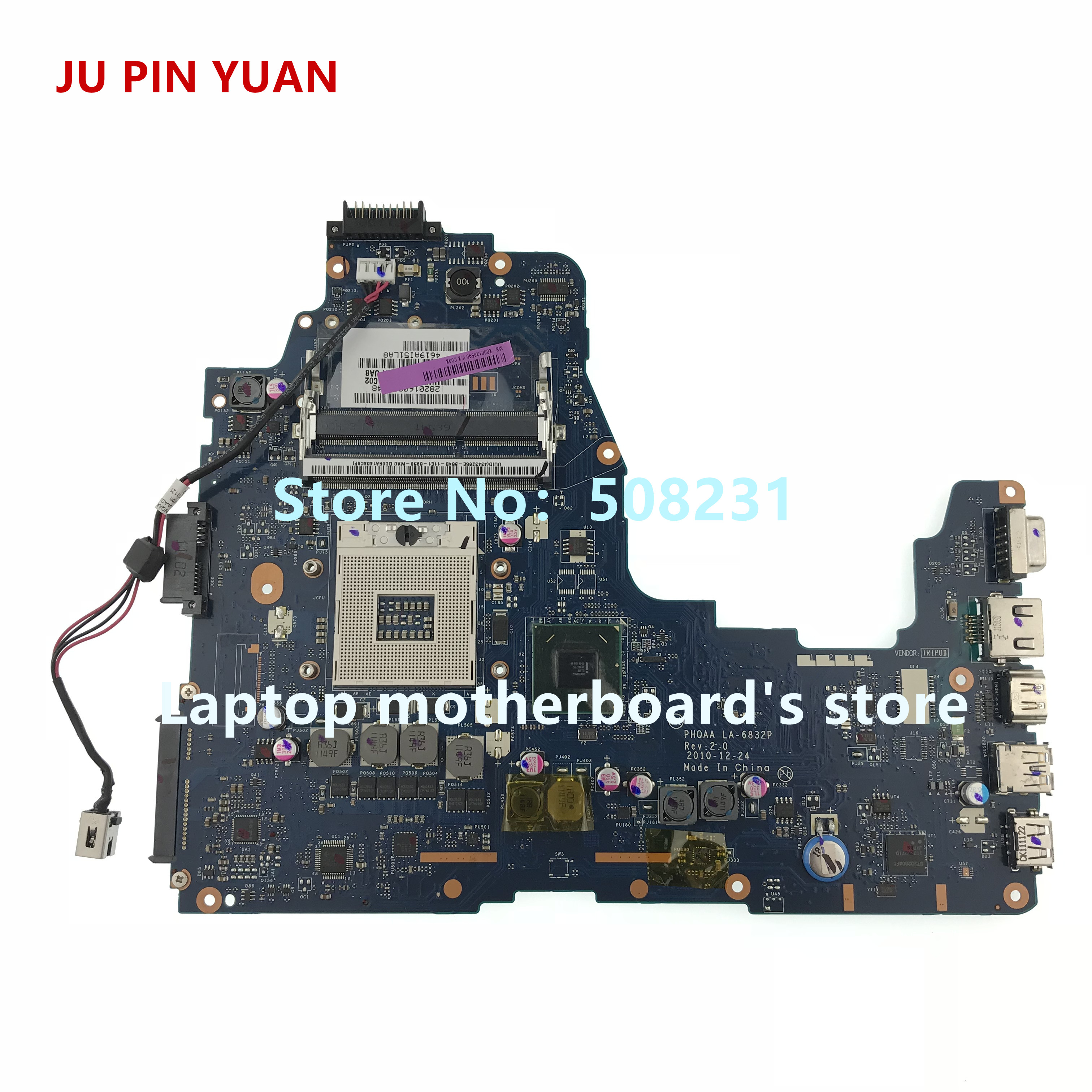 JU PIN YUAN K000128590 LA-6832P Mainrboard For <font><b>Toshiba</b></font> <font><b>satellite</b></font> <font><b>P750</b></font> P755 A665 A660 laptop motherboard fully Tested image