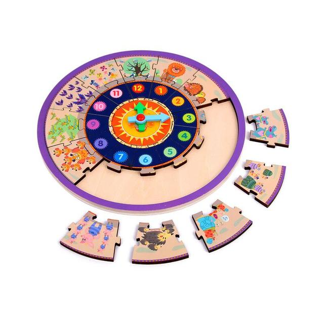Wooden Shape Assembly Clock Number Toy Learning Clocks Teaching Time Educational Toy For Kids Children Toddlers Boys And Girls