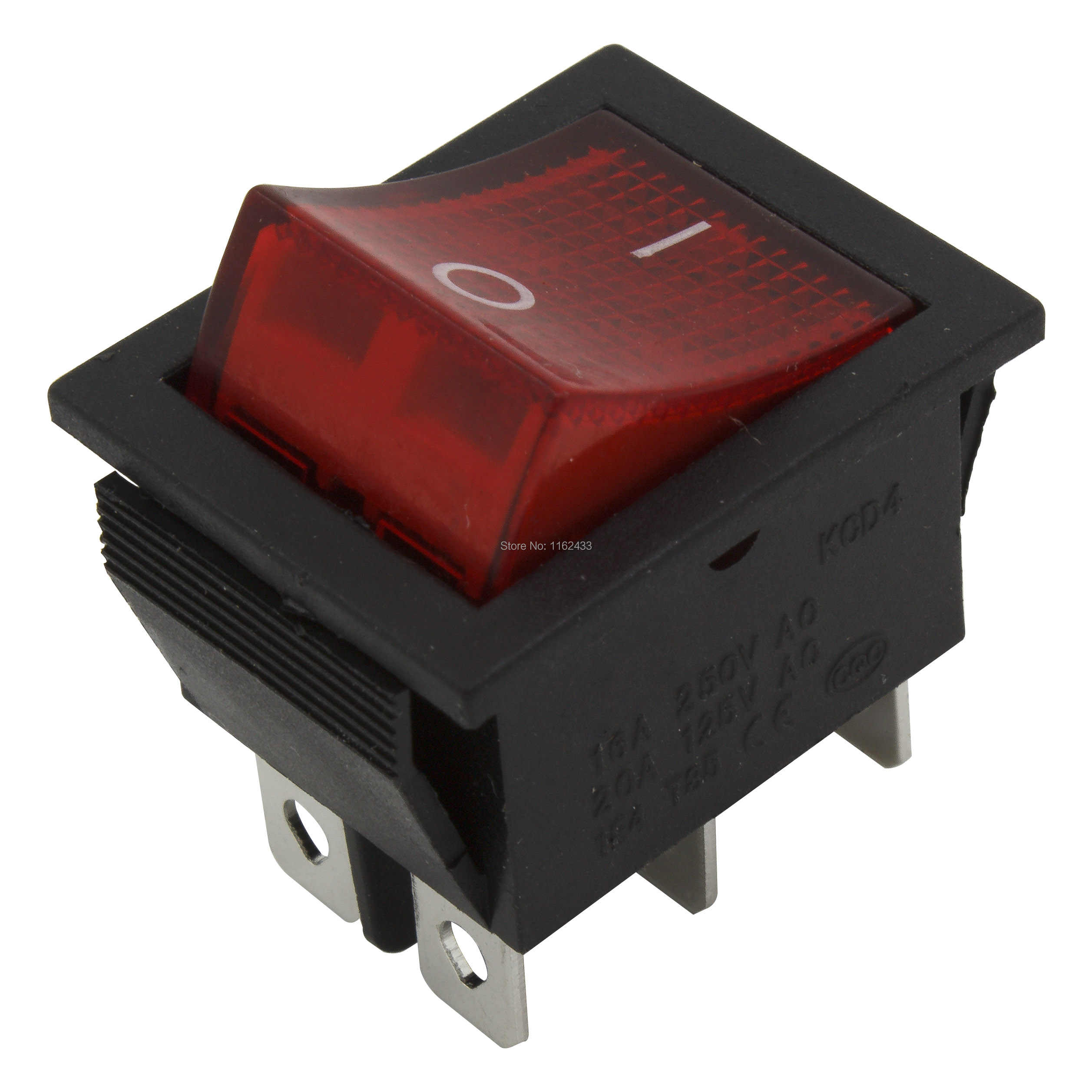 5 Buah/Banyak KCD4-202N Melubangi 26X22 Mm 6 Pin On-On Perahu Rocker Switch Power Switch dengan 220 V Cahaya