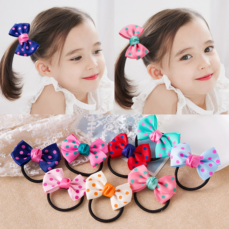 Girls Adjustabl Hair Rope Children Kids 1PC/2PCS Scrunchy 8 Colors Butterfly Hair Accessories Dots Beautiful Elastic Handmade