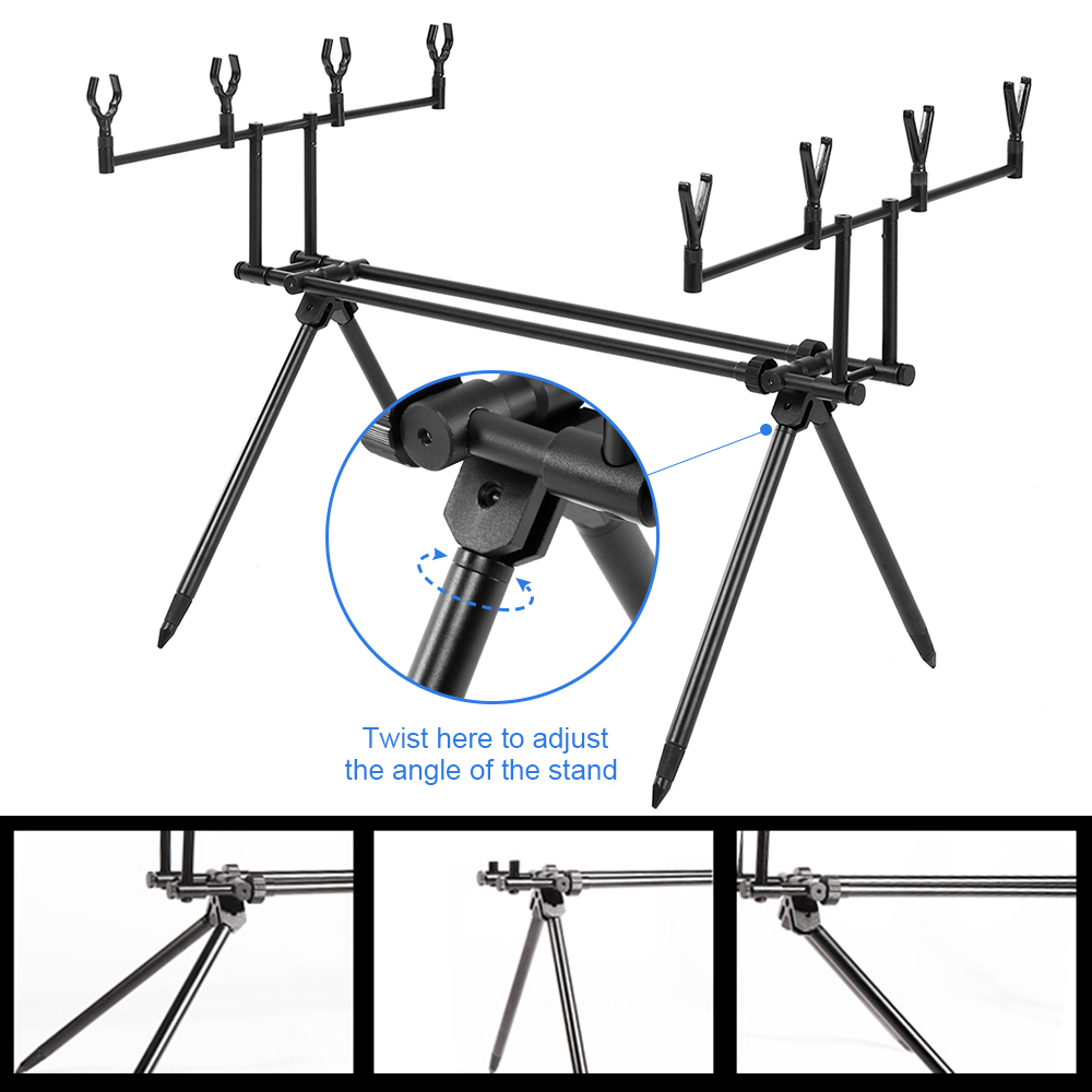 Detachable Fishing Rod Stand Buzz Bar Pole Rest Head Folding Retractable Reservoir Fishing RodHolder With Carry Bag