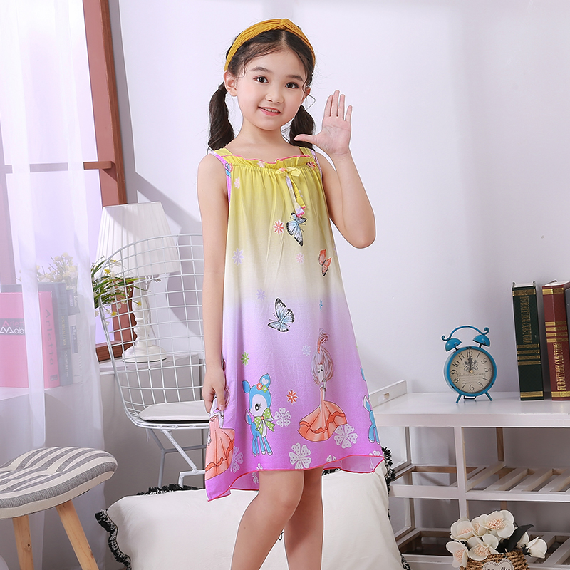 New Cute Sleepwear Shirt Summer Dresses Girls Pajamas Cotton Princess Nightgown Kids Outwear Dress Girl Sleepwear Kids Nightgown