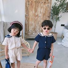7b9180069766 Summer Korean style kids sailor collar cotton linen clothes sets cute boys girls  short sleeve T