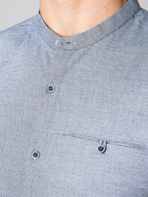 Men's Shirt 100% Cotton Gray Blue Long Sleeve With Pocket