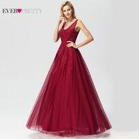 Robe De Soiree Women Long Dress Evening Elegant A Line V Neck Appliques Beaded Burgundy Formal Party Gown For Wedding Guest 2019