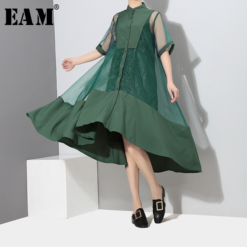 [EAM] 2019 New Spring Summer Stand Collar Short Sleeve Green Irregular Hem Organza Two Piece Dress Women Fashion Tide JT581