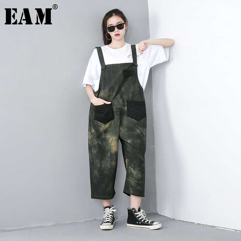 [EAM] 2019 New Spring Summer High Waist Army Green Printed Pocket Stitch Loose Pants Women Strap Overalls Fashion Tide JQ614