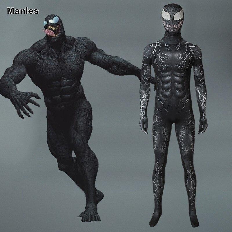 Marvel Venom Symbiote Costume Edward Eddie Brock Cosplay Carnival Superhero Halloween Adult Jumpsuit Men 3D Print