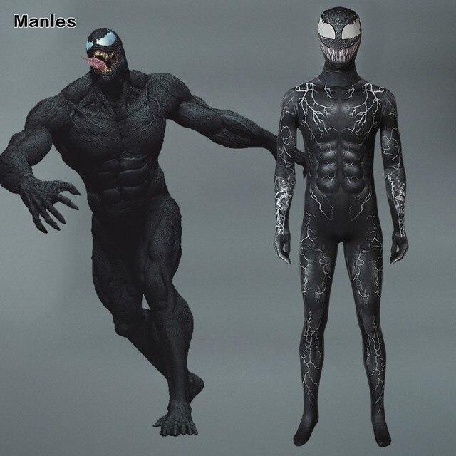 Marvel Venom Symbiote Costume Edward Eddie Brock Cosplay Carnival Superhero Halloween Adult Jumpsuit Men 3D Print Party Muscle
