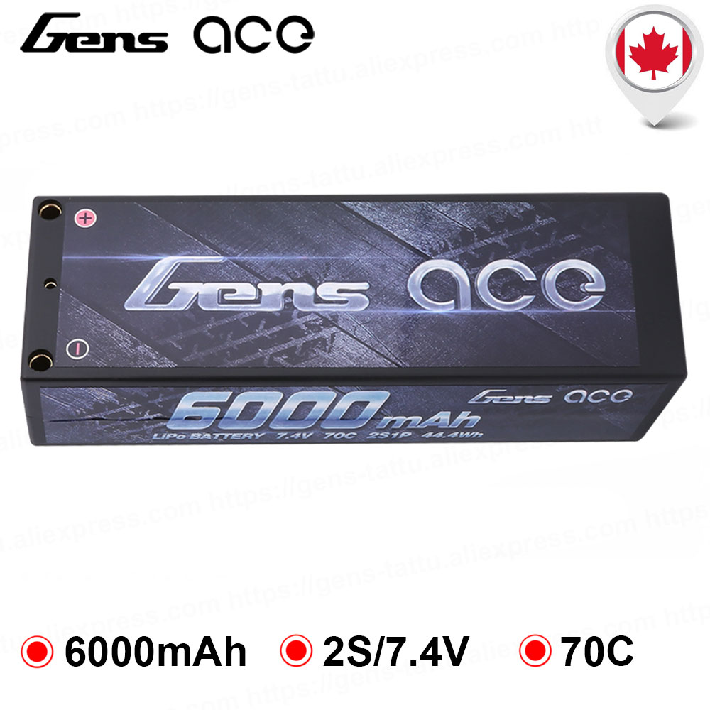Gens ace <font><b>Lipo</b></font> Battery 7.4V <font><b>6000mAh</b></font> Battery <font><b>2S</b></font> 70C T Deans Plug Battery for 1/8 1/10 Stampede Car Models IFMAR Racing Battery image
