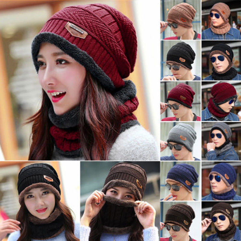 Men Women Winter Warm Crochet Knit Baggy Beanie Wool Skull Hat Ski Cap Scarf