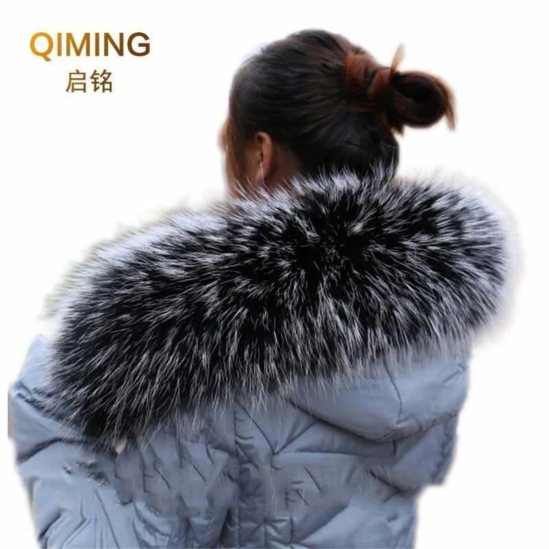 Fashion Shawl Sweater Coat Collar Scarves Luxury Raccoon Fur Neck Cap Winter Real fur collar and Scarves Women's Scarf L52