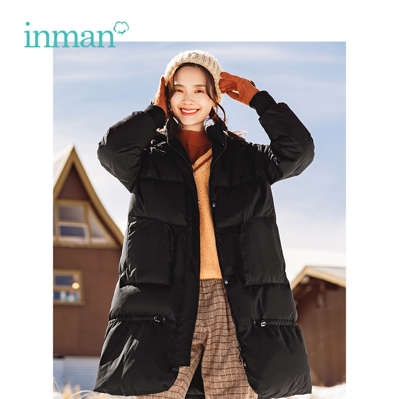 INMAN Winter New Arrival Hooded Fashion Loose Thick Duck   Down   Long Woman   Down     Coat