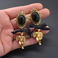 Барокко Ретро Ангел висячие серьги черный жемчуг Висячие серьги с бантами ювелирные изделия
