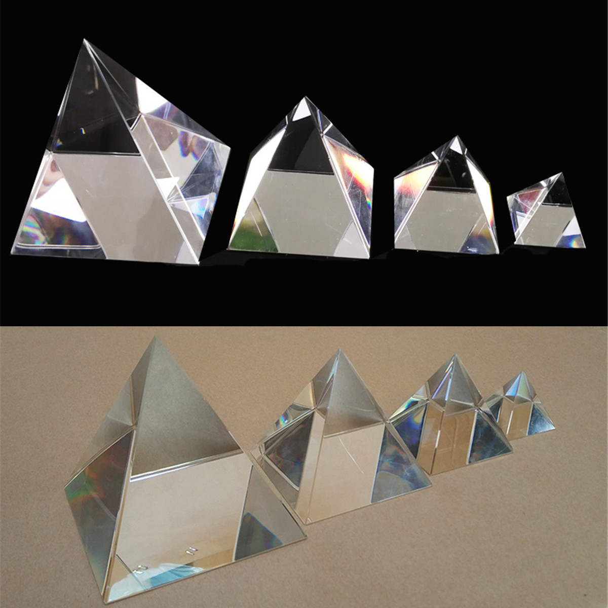 Optical Glass Prisms 100mm Pyramid Crystal Healing Prism Science Optics Triangle Teaching Light Spectrum Props MaterialOptical Glass Prisms 100mm Pyramid Crystal Healing Prism Science Optics Triangle Teaching Light Spectrum Props Material