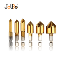 цена на JelBo 6 In 1 Countersink Drill Bit Woodworking 1/4 Hex Shank Chamfer Carpentry Tool for Wood Drilling Milling Cutter Hole Saw