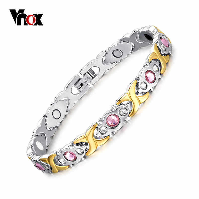 Vnox Pink Crystal Stone Magnet Health Bracelets for Women Bio Energy femme Gifts