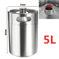5L Premium Stainless Steel Homebrew Growler Mini Keg Beer Growler Leak Proof Top Lid Beer Bottle Home Brewing Making Bar Tool