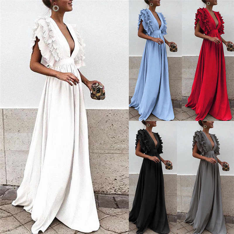d1512dd758c Detail Feedback Questions about Women s Ruffles Flying Sleeve Party Long  Dress Solid Color Formal Lady Deep V Neck High Waist Dress Backless Wedding  Party ...
