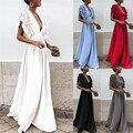 Женское длинное платье с рюшами, однотонное вечернее платье с рукавами-крылышками, глубоким v-образным вырезом, высокой талией и открытой сп...