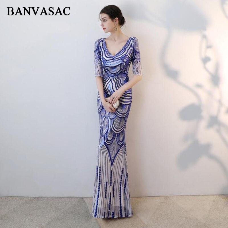 BANVASAC Sexy Глубокий V шеи блестками узор Русалка Длинные элегантные вечерние платья вечерние Иллюзия Половина рукавом для выпускного бала