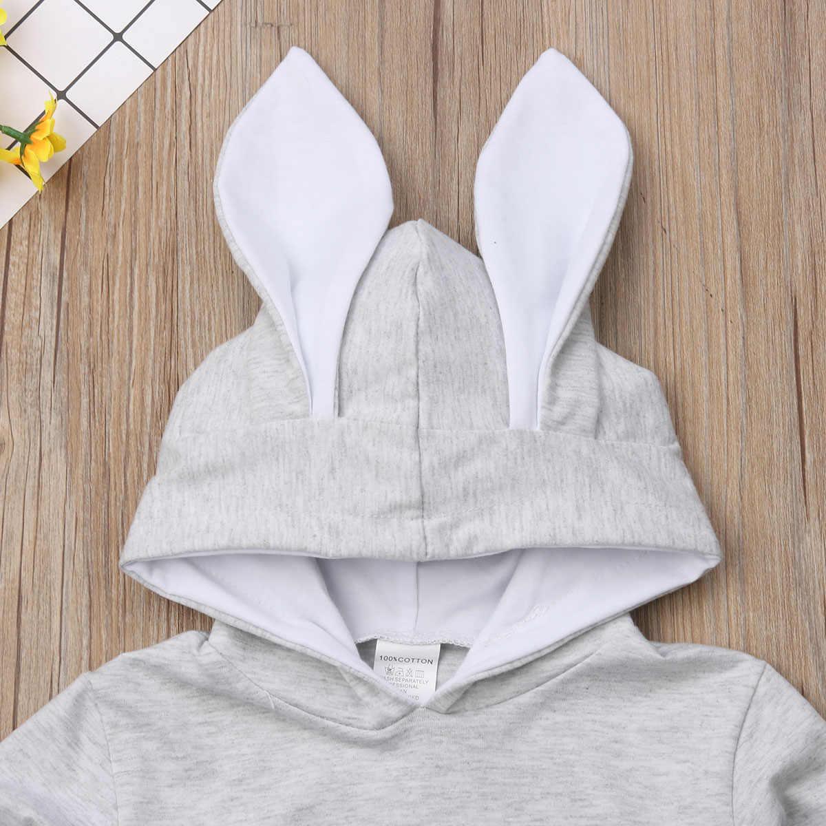2019 New Toddler Baby Girl Kid Cute Hoodies Coat Rabbit Ear Bunny Hoodie Pullover Grey Coat Jacket Outwear Snowsuit Clothes 1-6Y