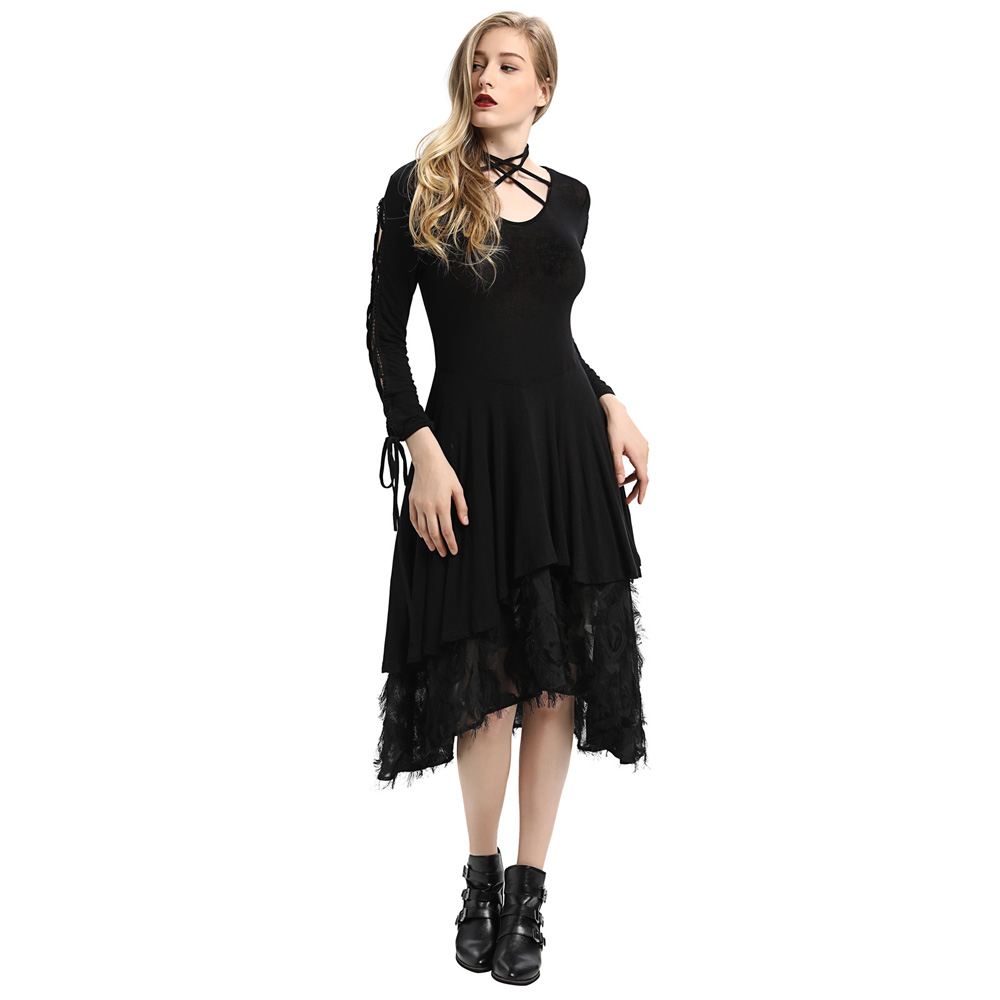 New autumn Women Gothic dresses 2018 Victorian Long Ribbon Lace Sleeves V Neck Witchy Dress vintage solid high low dress vestido