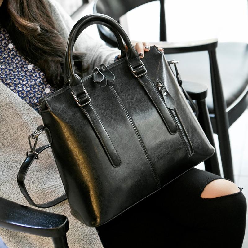 Femme Madame Comportement Épaule Portable Sac Mode Marée Paquet Peau Black Cire Topest Vache Véritable Simple De Huile Motif UBIqntxn