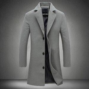 Image 2 - 2020 冬の新ファッションメンズ無地シングルブレストロングトレンチコート/男性カジュアルスリムロング毛織物のコート大サイズ 5XL